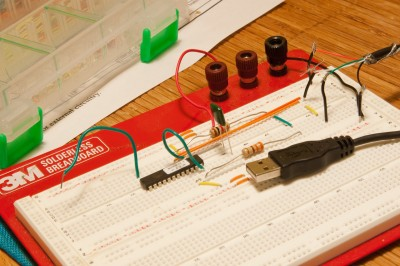 JoyWarrior on breadboard